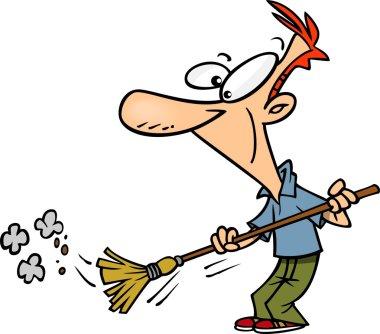 Cartoon Man Sweeping