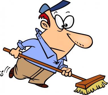 Cartoon Janitor Sweeping