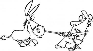 Cartoon Man Pulling a Stubborn Mule