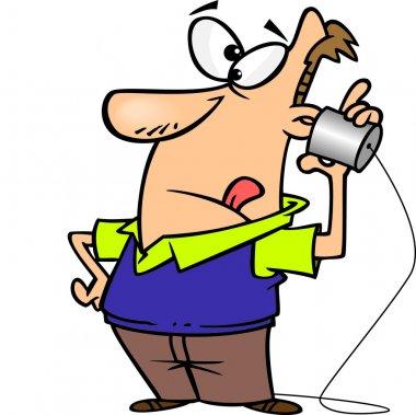 Cartoon Man Tin Can Phone