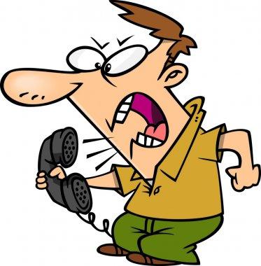 Cartoon Angry Man on Telephone