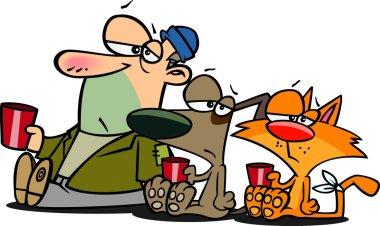 Cartoon Beggar Man, Cat and Dog