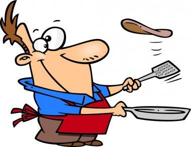 Cartoon Man Cooking Pancakes