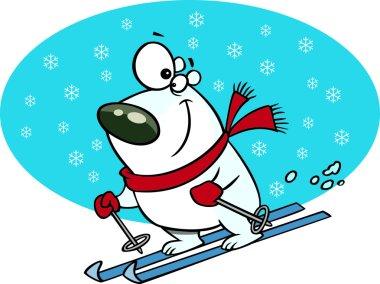 Cartoon Polar Bear Snow Skiing