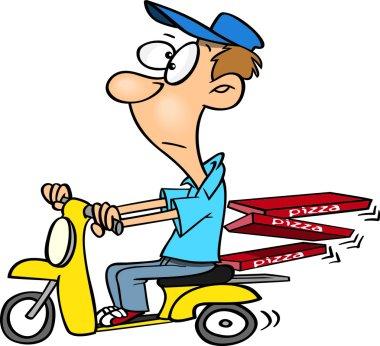 Cartoon Pizza Delivery Boy