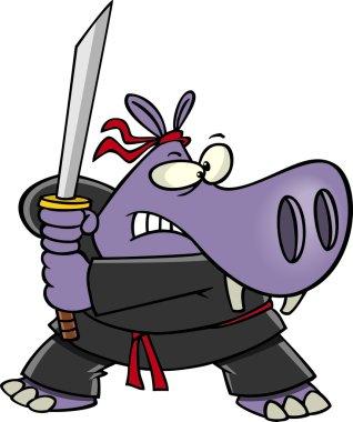 Cartoon Samurai Hippo