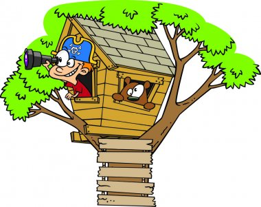 Cartoon Pirate Boy in Tree House