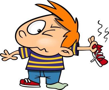 Cartoon Boy with Stinky Feet