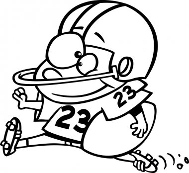 Vector of a Cartoon Football Players Diving Towards the Ball - Coloring Page Outline