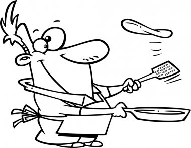 Cartoon Man Flipping a Flapjack