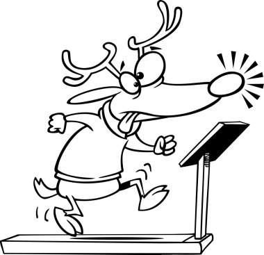 Illustration of an outlined christmas reindeer running on a treadmill, on a white background.
