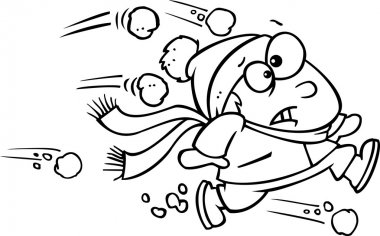 Illustration of an outlined outnumbered boy running from snowballs, on a white background.