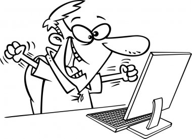 Illustration of an outlined excited man celebrating at his computer desk, on a white background.
