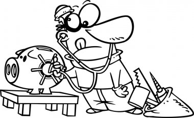 Vector of a Cartoon Robber Unlocking a Piggy Bank Vault - Outlined Coloring Page