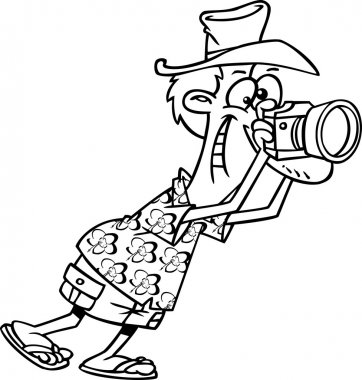 Vector of a Cartoon Tourist Flamingo Taking Pictures - Coloring Page Outline