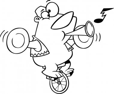 Vector of a Cartoon Stunt Bear Playing Music and Riding a Unicycle - Outlined Coloring Page