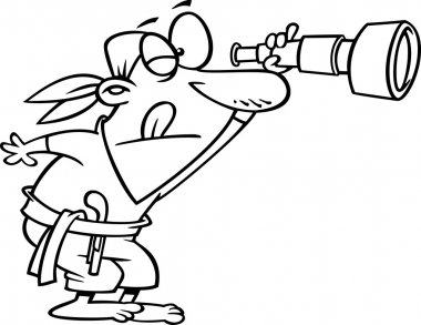 Vector of a Cartoon Pirate Peering Through a Spyglass Telescope - Outlined Coloring Page