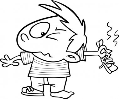 Vector of a Cartoon Boy Holding out a Smelly Shoe - Outlined Coloring Page