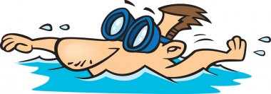 Illustration of a male swimmer wearing goggles, on a white background.