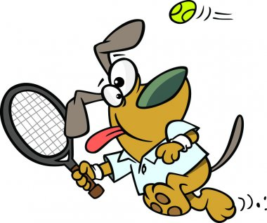 Illustration of a dog swinging a tennis racket, on a white background.