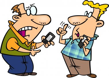 Illustration of techie men having a debate over gadgets, on a white background.