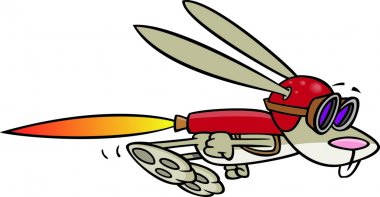 Illustration of a rabbit flying with a rocket jet pack, on a white background.