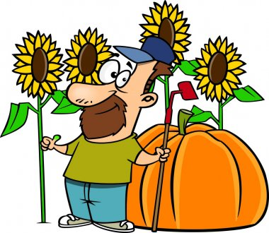Clipart Green Thumb Farmer With Sunflowers And A Giant Pumpkin
