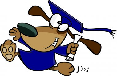 Clipart Happy Graduate Dog Running With A Diploma