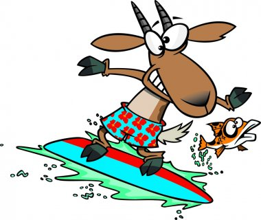 Clipart Fish Leaping Away From A Surfing Goat