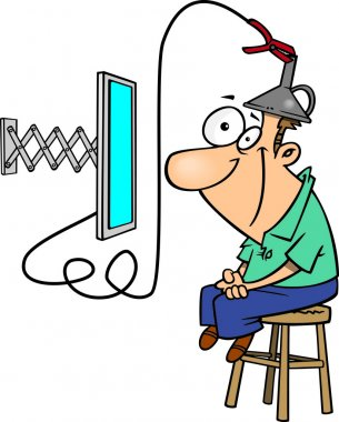 Clipart Man Attached To An E Learning Machine