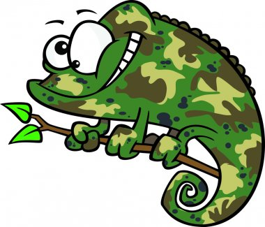 Clipart Happy Cartoon Green Chameleon Lizard With Camouflage Patterns