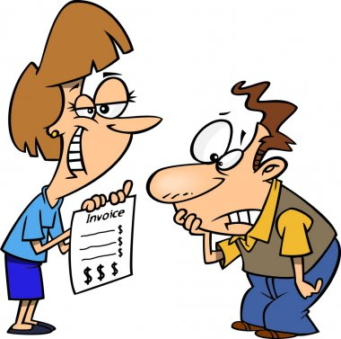 Clipart Grinning Woman Presenting Her Client With A Billing Invoice