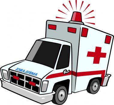 Illustration of an emergency ambulance with lit siren light, on a white background.
