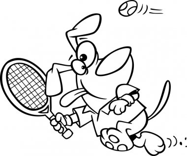 Illustration of an outlined dog swinging a tennis racket, on a white background.
