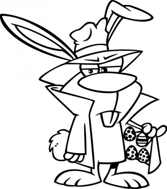 Clipart Outlined Cartoon Easter Bunny Dealing Eggs - Royalty Free Vector Illustration by Ron Leishman