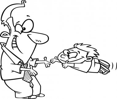 Vector of a Cartoon Father Greeting His Excited Son with Open Arms - Outlined Coloring Page