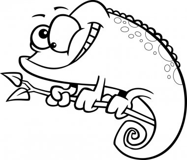 Vector of a Cartoon Happy Spotted Chameleon Lizard - Outlined Coloring Page
