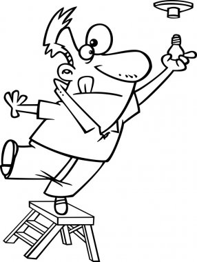 Vector of a Cartoon Ladder and Installing a Light Bulb - Outlined Coloring Page