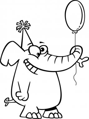 Vector of a Cartoon Happy Birthday Elephant Holding a Balloon - Outlined Coloring Page