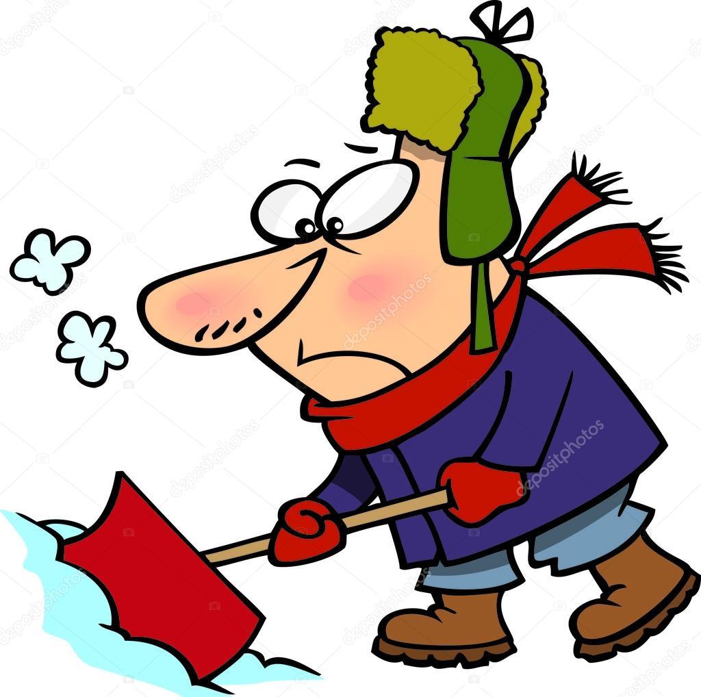 cartoon man shoveling snow stock vector ronleishman 14001229