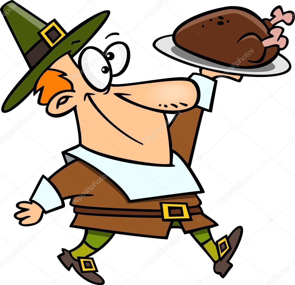 cartoon pilgrim thanksgiving turkey � stock vector