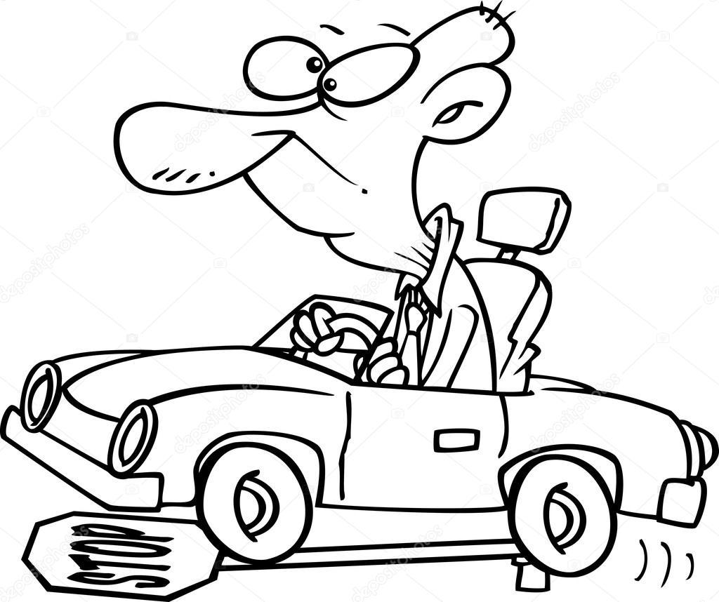 Cartoon Old Man Running Over Stop Sign