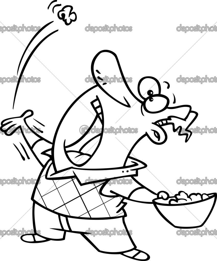 Cartone animato uomo mangiare popcorn — vettoriali stock