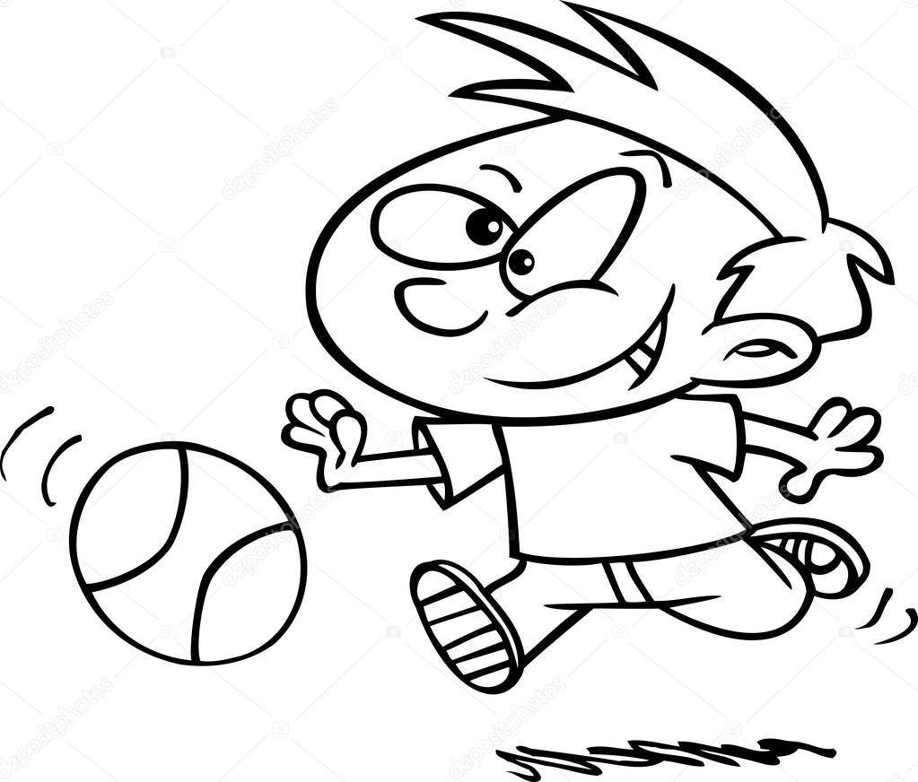 Kreslene Chlapce Hrat Basketbal Stock Vektor C Ronleishman 14002486