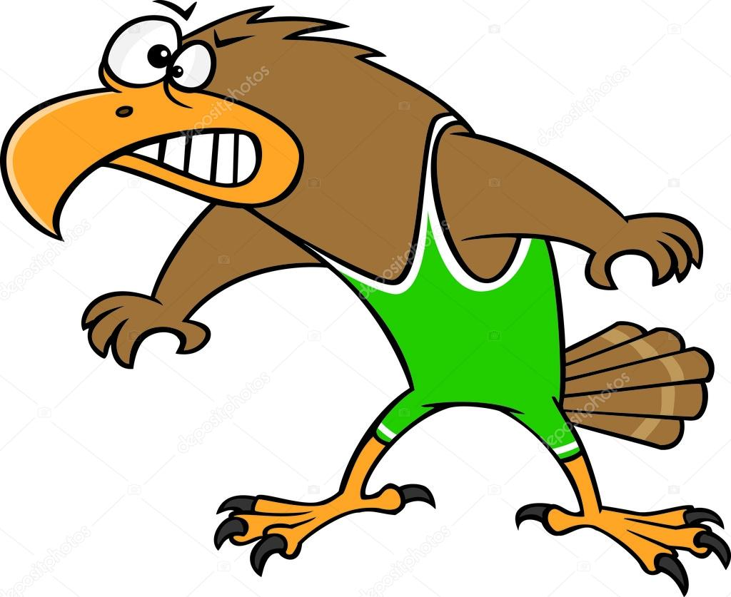 Cartoon hawk wrestler — stock vector ronleishman