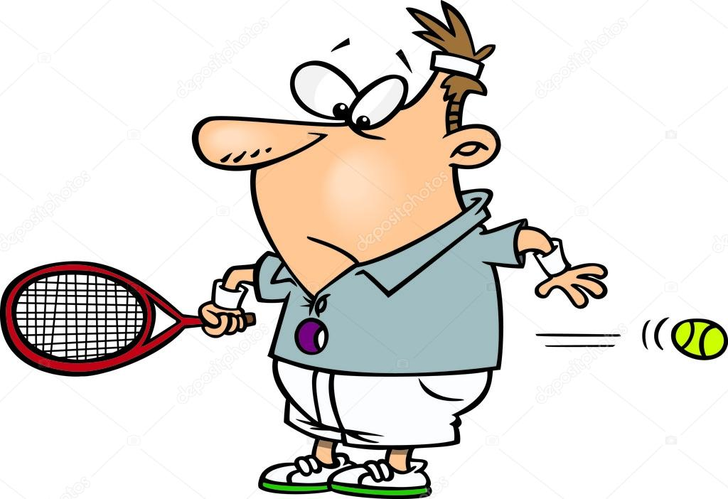 Cartone animato tennis servire — vettoriali stock