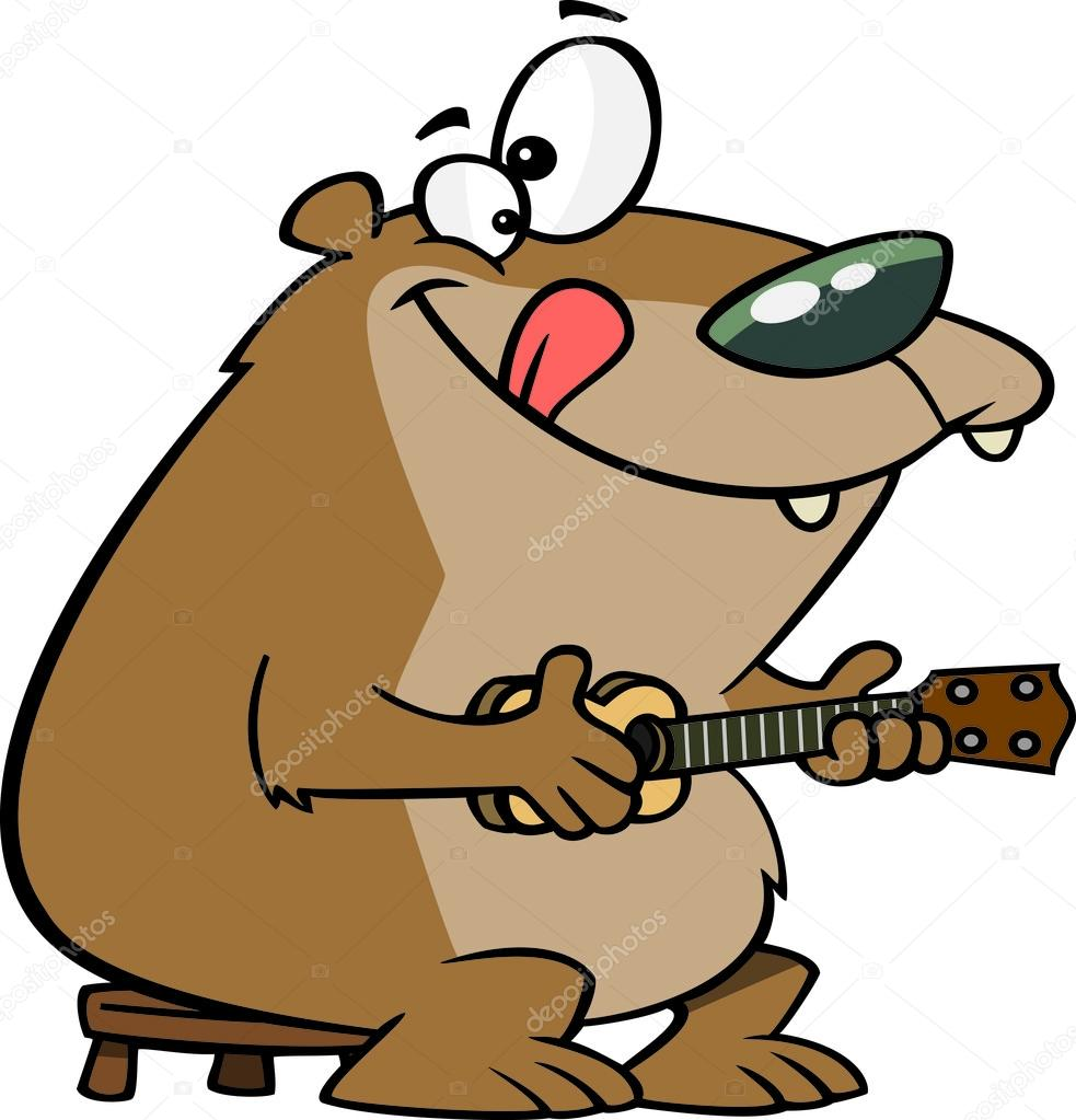 Cartoon Ukulele Bear