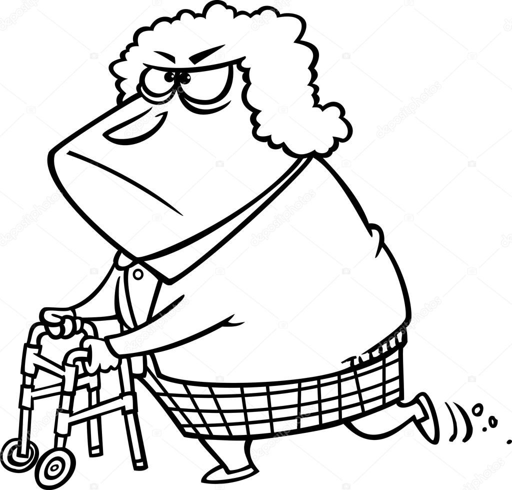 Ilustración de una abuelita gruñona delineada usando su andador ...
