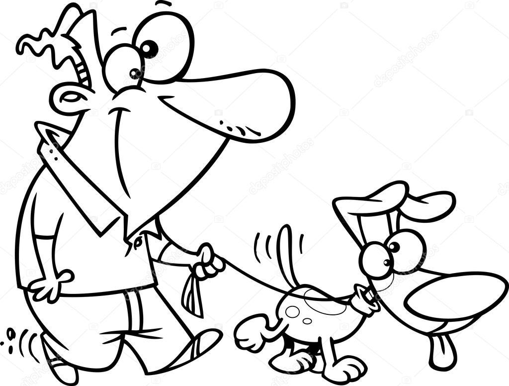 Vector de dibujos animados hombre paseando a su perro con una correa ...