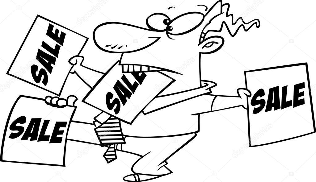 Vector of a Cartoon Salesman Trying to Sell Tools - Coloring Page ...
